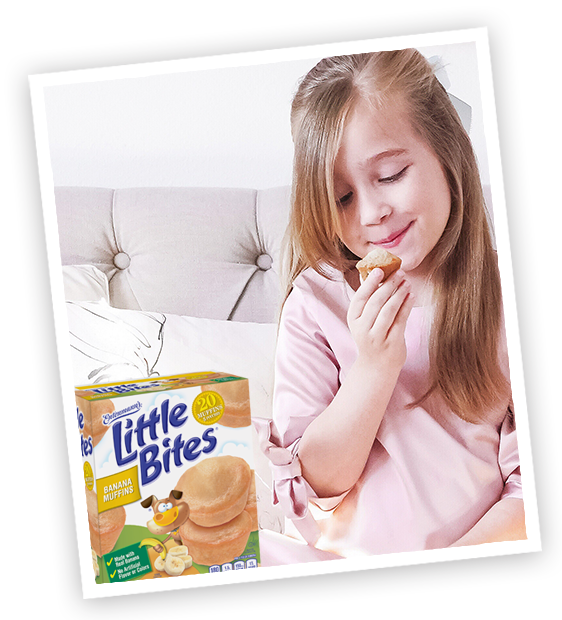 Child with Little Bites Banana muffins package