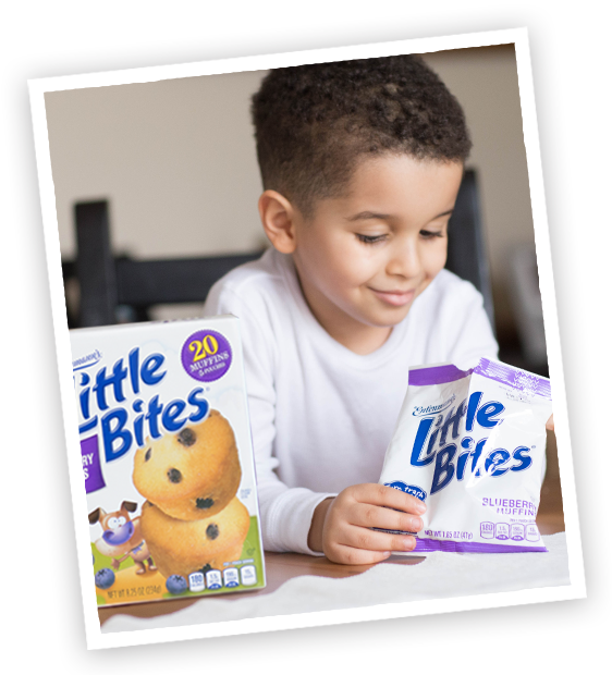 Child with Little Bites Blueberry muffins pouch and package