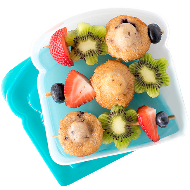 Blueberry muffin and fruit kebabs